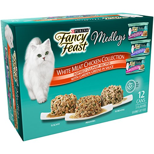 Purina Fancy Feast Wet Cat Food Variety Pack, Medleys White Meat Chicken in Sauce Collection – (12) 3 oz. Cans