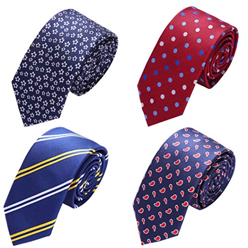 AUSKY 4 PACKS Mens Slim Ties Set, Classic Silk Skinny Neck-Ties [Blue & Red Paisley], Gift for Men