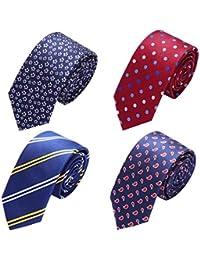 Mens Tie Set,Classic Silk Skinny Neck-Ties Woven Jacquard, Gift for Men Boys