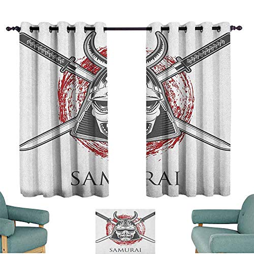 SONGDAYONE Printed Curtain Japanese Easy to Install Detailed Middle Age War Mask Representing Courage and Honor Insignia Culture Theme (2 planels,W63 x L72) Grey Red