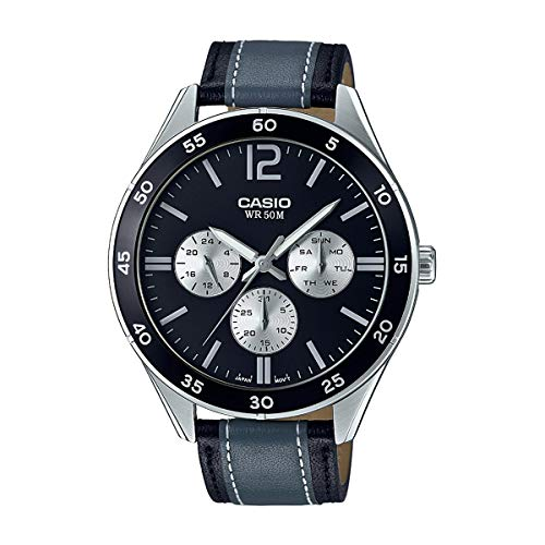 Casio MTP-E310L-1A1V Men's Racing Black Grey Leather Band Multifunction Watch