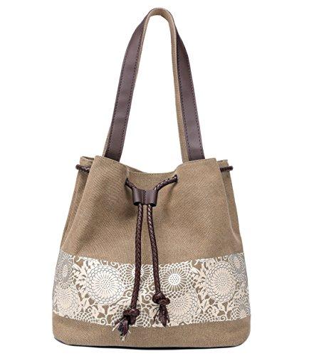 Hiigoo Printing Canvas Shoulder Bag Retro Casual Handbags Messenger Bags (Khaki)