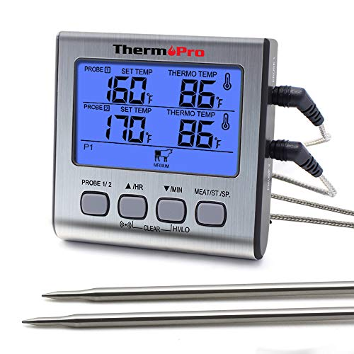ThermoPro TP-17 Dual Probe Digital Cooking Meat Thermometer Large LCD Backlight Food Grill Thermometer with Timer Mode for Smoker Kitchen Oven BBQ, Silver (Cooking Probe Temperature)