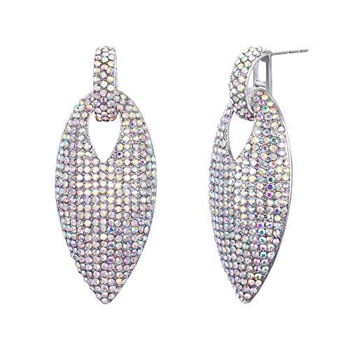 BriLove Bohemian Boho Dangle Earrings for Women Crystal Pave Leaf-Shape Chandelier Earrings Iridescent Clear AB Gold-Toned ()