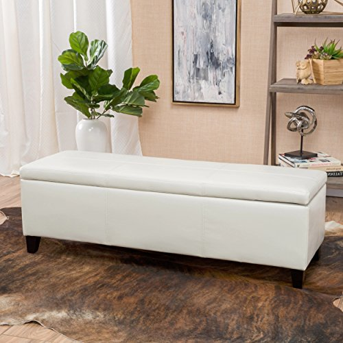 Ivory Leather Ottoman - 3