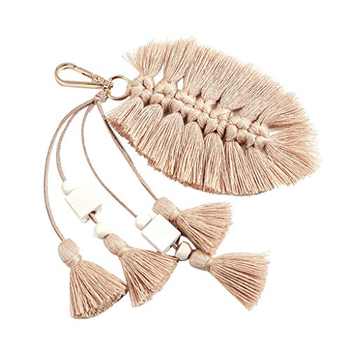 Irene Girls Hot Sale Multicolor Keychain Cute Creative Fringed Leaves Hanging Vintage Jewelry (Beige)