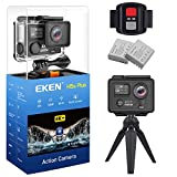 EKEN H5s Plus Ultra HD Action Camera 4K+ 12MP with EIS 100ft Underwater Waterproof Cam Remote Sports Camcorder Sony Sensor 170 Degrees Angle Lens with 2 Batteries Accessories Kit and Tripod