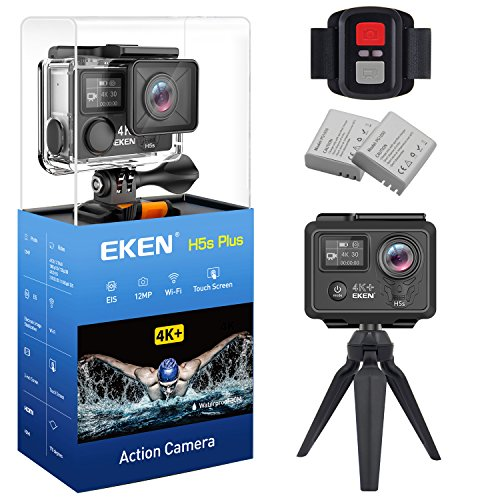 EKEN H5s Plus Ultra HD Action Camera 4K+ 12MP with EIS 100ft Underwater Waterproof Cam Remote Sports Camcorder Sony Sensor 170 Degrees Angle Lens with 2 Batteries Accessories Kit and Tripod by EKEN