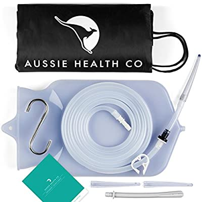 Aussie Health Co Non-Toxic Silicone Enema Bag Kit. 2 Quart. BPA & Phthalates Free. For At Home Water & Coffee Colon Cleansing. Clear Color.