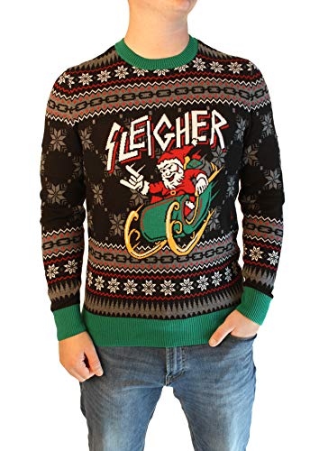 Ugly Christmas Sweater Company Men's Ugly Christmas Sweater-Sleigher Santa, Black, Small