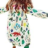 Promisen Girl Dinosaurs Floral Printed Cotton Children Clothing Autumn Dress