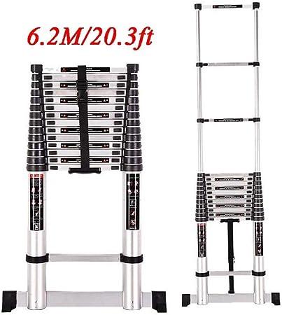 Escaleras plegables aluminio Escalera De Extensión Telescópica De Aluminio De 20.3 Pies, Escalera Telescópica Extensible Con Mecanismo De Bloqueo Con Resorte Costillas Antideslizantes Capacidad De 330: Amazon.es: Hogar