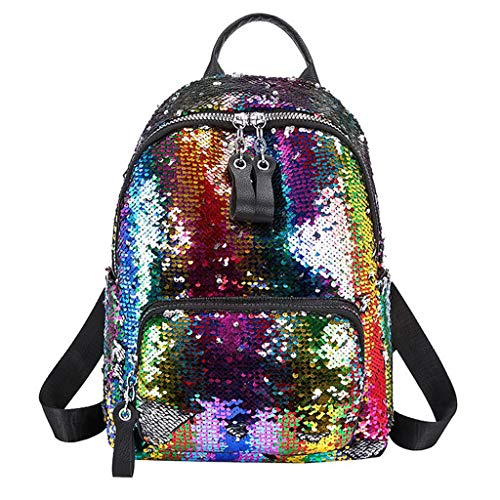 LiLiMeng Women Sequin Hit Color School Bag Backpack Student Satchel Travel Shoulder Bag ()