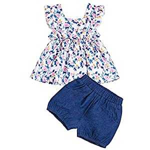 Little Girls Summer Outfit Holiday Floral Mini Dress Tops Shorts Clothing Set