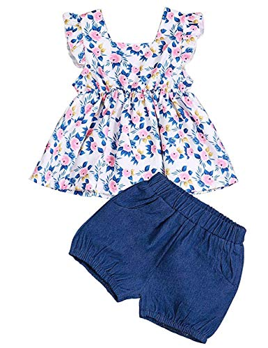 Toddler Infant Baby Girls Clothes Holiday Shorts +Floral Mini Dress Tops (2-3T) -