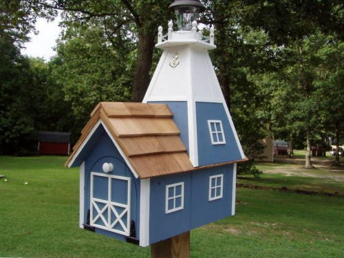 Amish Handmade Rural Mailbox Solar Lighthouse Lt. Blue Homemade Handcrafted