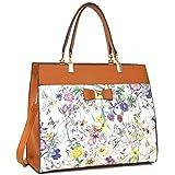 Dasein Women's Fashion Designer Satchel Handbags Purse Shoulder Bag Work Bag With Removable Shoulder Strap (F-6338 Brown Floral)