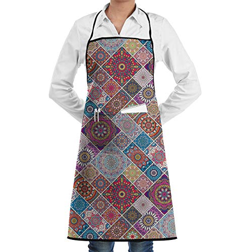 Hidden Ambition Moroccan Patchwork Decor Vintage Aprons for Women with Pockets, Mens Kitchen Aprons for Waiter Cooking Baking Crafting Gardening ()