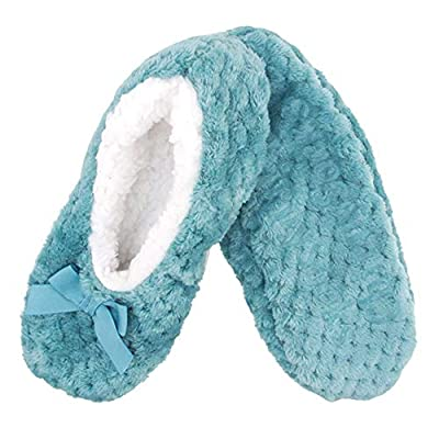 Adult Super Soft Warm Cozy Fuzzy Soft Touch Sleeper Slippers Non-Slip Lined Socks at Women's Clothing store