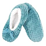 Adult Super Soft Warm Cozy Fuzzy Soft Touch Slippers Non-Slip Lined Socks, Greenish Blue, Medium 1 Pair