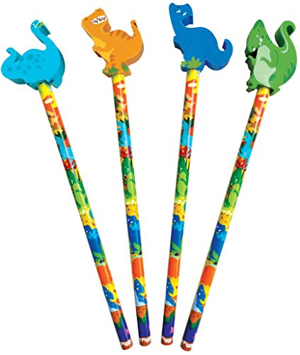The Piggy Story 'Dinosaur World' Set of 4 Pencils with Die-Cut Eraser Toppers