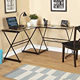 Classy Atrium Metal and Glass L-shaped Computer Desk, Durable Tempered Glass and Sturdy Metal Frame, Elegant Addition to Home and Office Furniture (Clear)