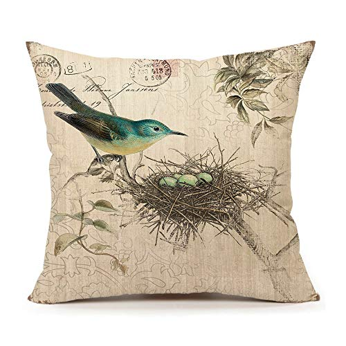4TH Emotion Vintage Bird's Nest Easter Home Decor Throw Pillow Case Cushion Cover 18 x 18 Inch Cotton Linen -