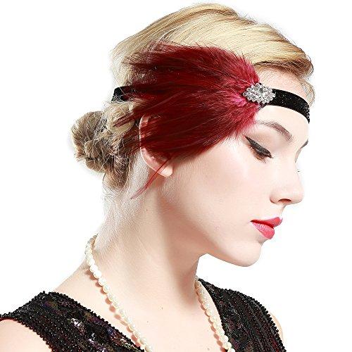 Red Flapper Headpiece (BABEYOND Womens Gatsby Headpiece Flapper Headband Swarovski Crystal Feather Headpiece , wine red, One size)