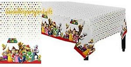 Lote de Cubiertos Infantiles Desechables Decorativos Super Mario Bros Bautizos 32 Vasos, 32 Platos , 40 Servilletas y 2 Manteles Juguetes y Regalos Baratos para Fiestas de Cumplea/ños .Vajillas y Complementos Comuni 137 x 243 cm Unidad Bodas