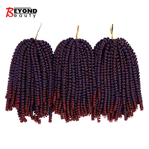 3 Pack Spring Twist Ombre Colors Crochet Braids Synthetic Braiding Hair Extensions Low Temperature Fiber (Beauty Color, Dark&Light Wine)