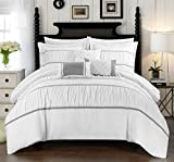 Chic Home Cheryl 10 Piece Comforter Set Complete Bed in a Bag Pleated Ruched Ruffled Bedding with Sheet Set And Decorative Pillows Shams Included, King White