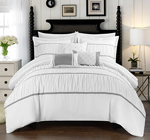 Chic Home Cheryl 10 Piece Comforter Set Complete Bed in a Bag Pleated Ruched Ruffled Bedding with Sheet Set and Decorative Pillows Shams Included, Queen White -