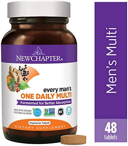 New Chapter Men's Multivitamin, Every Man's One Daily, Fermented with Probiotics + Selenium + B Vitamins + Vitamin D3 + Organic Non-GMO Ingredients - 48 ct (Packaging May Vary)