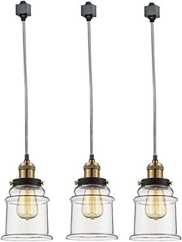 Kiven Set of 3 H-Type Track Lighting Industrial Kitchen Pendant Light – Antique Brass Hanging Fixture – Bulb Included
