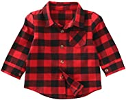 MERSARIPHY Toddler Long Sleeve Shirt Baby Boy Girl Plaid Top for Toddler Spring Winter Coat for Kid (Red No Le