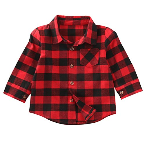 Kids Toddler Baby Boys Girls Long Sleeve T-Shirt Plaids Checked Blouse Tops Casual Clothes 1-7Y (Red, 1 Years) -
