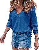 BLINGLAND Womens Loose V-Neck Pullover T Shirt Knit Tops