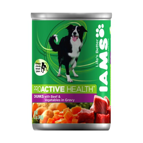 IAMS Dog Food Chunks with Tender Beef and Vegetables Simmered in Gravy, 12.3-Ounce Cans (Pack of 12), My Pet Supplies