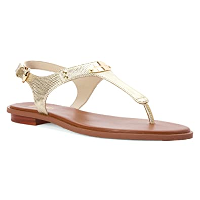 815cdc22ba1 Image Unavailable. Image not available for. Color  MICHAEL Michael Kors MK  Plate Thong Pale Gold Embossed Lizard Specchio Women s Sandals