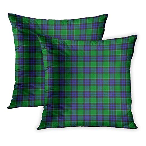 Nextchange Pillow Cover Set of 2, Blue Plaid Patterned of The Clan Graham Menteith Tartan Green Abstract Ancient Black Celtic Checkered Cotton Creative Pillowcase (Two Sides) Great Festival Gift