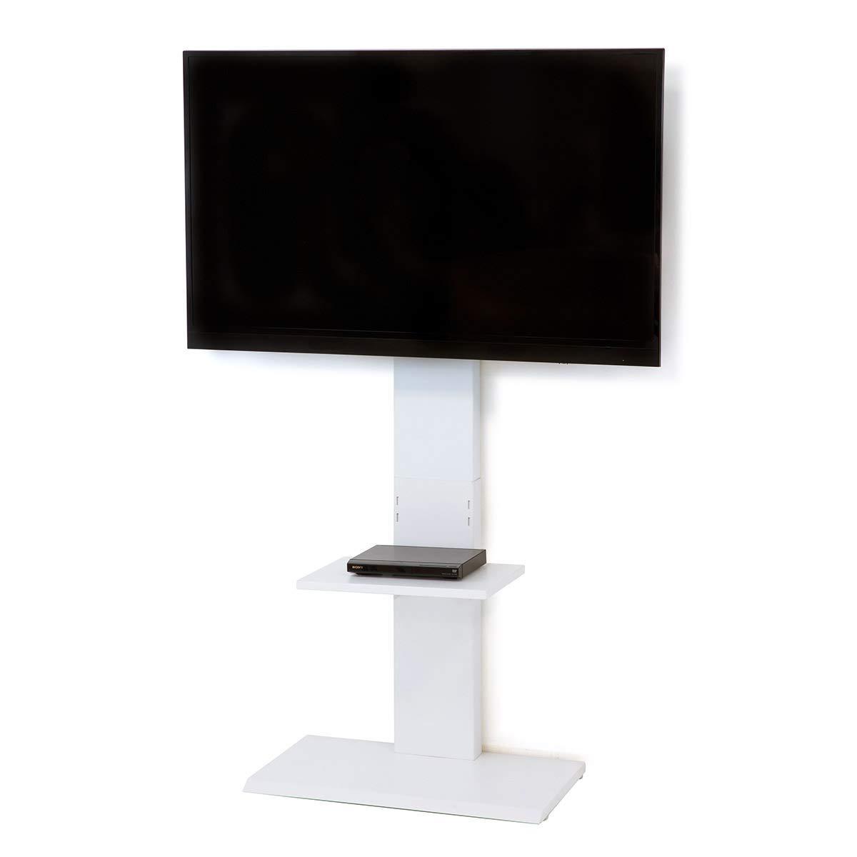 クロシオ テレビ台 テレビスタンド ホワイト 70×40×144.5~160.5cm 壁掛け風 ハイタイプ 32646 B07JGP2B2Y ホワイト 高さ144.5~160.5cm