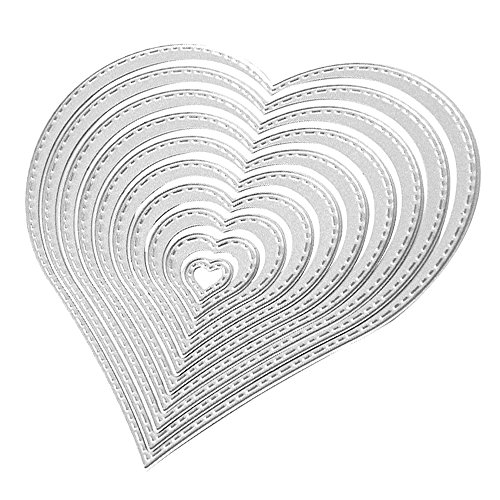 10 PCS Paper Cutting Dies, Assorted Sizes Carbon Steel Love Heart Embossing Cutting Dies Stencils Templates Mould Set for DIY Scrapbooking Album Paper Card