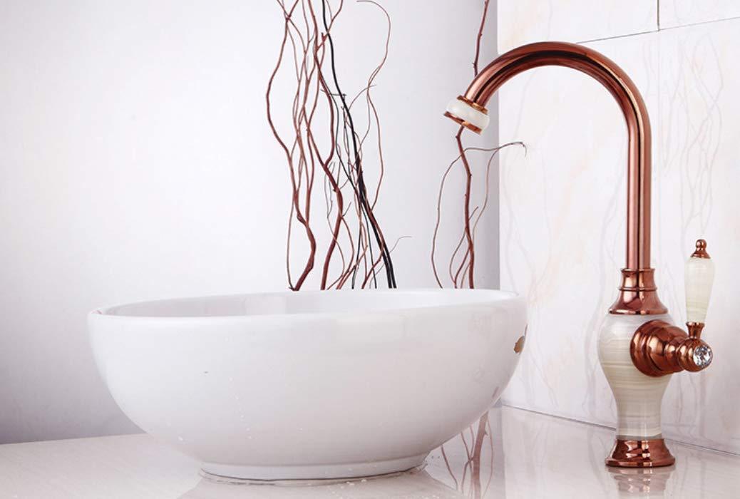 Oudan Marble Basin, Water Faucet, Hot and Cold European Platform, Upper Basin, Green Jade, Antique Bronze gold Washbasin, Bathroom Faucet Ceramic Valve Core. (color   -, Size   -)