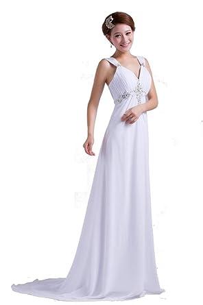 DLFashion V Neck Empire Beaded Chiffon Beach Wedding Dress M 8 Ivory