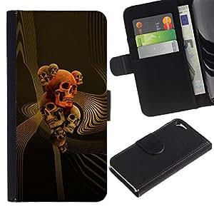 Stuss Case / Funda Carcasa PU de Cuero - Oro Orange Music Muerte Huesos Roca - Apple Iphone 5 / 5S
