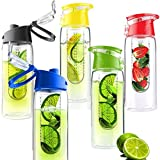 Water Bottle Fruit Infuser - 27 Ounce No BPA - Durable Tritan Sports Bottle - Flavor Infusion - Detox Body - 2 Pc Set (Green)