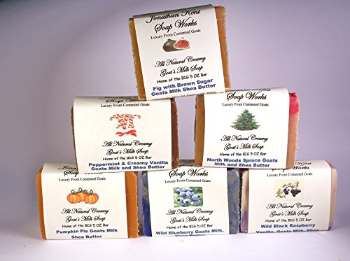 (Jonathan Kent Goats Milk Soap Bars - GRANDMA'S KITCHEN 6 Pack Sampler - Saturated with Farm Fresh 100% Creamy Goats Milk, NO WATER, Wild Black Raspberry Vanilla, Peppermint Vanilla, Fig/Pomegranate with Brown Sugar, Wild Blueberry, Pumpkin Pie, and Northern Spruce. Luxurious, Lingering, Invigorating Fragrance )