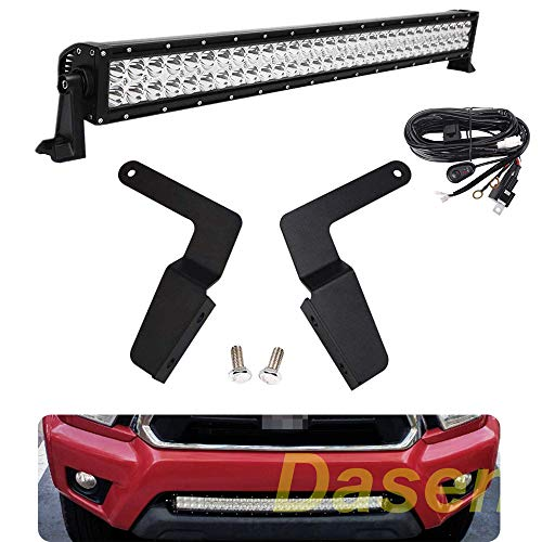 "DaSen For 30"" 180W Straight LED Light Bar W/Front Lower Hidden Bumper Grille Mounting Brackets Kit & Wiring Harness Fit Toyota Tacoma 2005-2015"