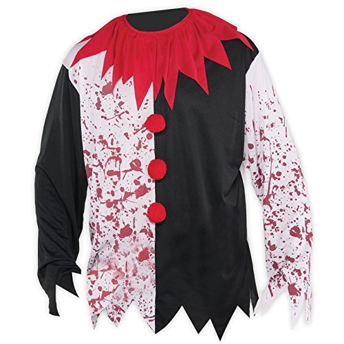 Killer Clown Circus Shirt L XL Mens Evil Top Halloween Bloody Freak Show Jester Joker Fancy Costume by Fancy Dress