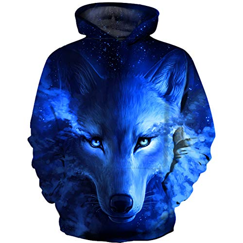 - HaniLav Teen Boys' Wolf Fleece Sweatshirts Pocket Pullover Hoodies 5-12Y,Blue Wolf,9-10T